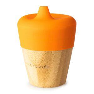Vaso de Bambú Naranja con Tapa 190 ml